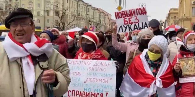 в Минске пенсионеры потребовали выпустить политзаключенных